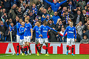 Steven Davis (#10) of Rangers FC celebrates with his team mates after scoring the second goal during the Group G Europa League match between Rangers FC and FC Porto at Ibrox Stadium, Glasgow, Scotland on 7 November 2019.
