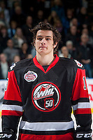 KELOWNA, CANADA - NOVEMBER 9: Mathew Barzal #13 of Team WHL lines up against the Team Russia on November 9, 2015 during game 1 of the Canada Russia Super Series at Prospera Place in Kelowna, British Columbia, Canada.  (Photo by Marissa Baecker/Western Hockey League)  *** Local Caption *** Mathew Barzal;