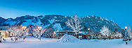 Panoramic view of downtown Aspen, Colorado before dawn in winter.