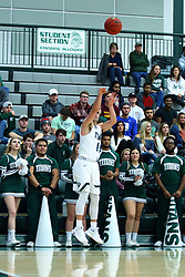 17 November 2017:  Zach Knobloch shoots for 3 during an College men's division 3 CCIW basketball game between the Alma Scots and the Illinois Wesleyan Titans in Shirk Center, Bloomington IL