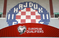 12.06.2015, Stadion Poljud, Split, CRO, UEFA Euro 2016 Qualifikation, Kroatien vs Italien, Gruppe H, im Bild croatisches Logo in den leeren Stadionsitzreihen // during the UEFA EURO 2016 qualifier group H match between Croatia and and Italy at the Stadion Poljud in Split, Croatia on 2015/06/12. EXPA Pictures © 2015, PhotoCredit: EXPA/ Pixsell/ Slavko Midzor<br /> <br /> *****ATTENTION - for AUT, SLO, SUI, SWE, ITA, FRA only*****