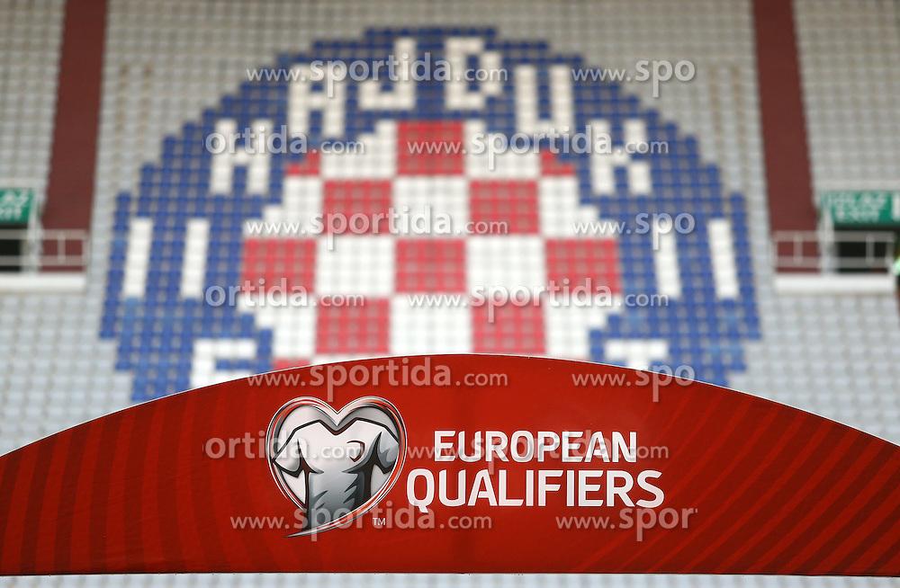 12.06.2015, Stadion Poljud, Split, CRO, UEFA Euro 2016 Qualifikation, Kroatien vs Italien, Gruppe H, im Bild croatisches Logo in den leeren Stadionsitzreihen // during the UEFA EURO 2016 qualifier group H match between Croatia and and Italy at the Stadion Poljud in Split, Croatia on 2015/06/12. EXPA Pictures &copy; 2015, PhotoCredit: EXPA/ Pixsell/ Slavko Midzor<br /> <br /> *****ATTENTION - for AUT, SLO, SUI, SWE, ITA, FRA only*****