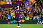 Goal Barcelona forward Lionel Messi (10) scores a goal and celebrates 3-0 during the Champions League semi-final leg 1 of 2 match between Barcelona and Liverpool at Camp Nou, Barcelona, Spain on 1 May 2019.