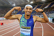 Michael Norman (USA) poses after winning the 200m in 19.70 during the 39th Golden Gala Pietro Menena in an IAAF Diamond League meet at Stadio Olimpico in Rome on Thursday, June 6, 2019. (Jiro Mochizuki/Image of Sport)