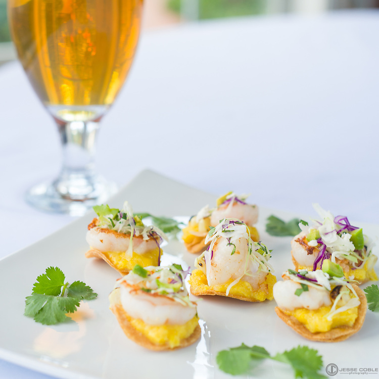 Shrimp & Corn Tostada, shrimp, corn, beer