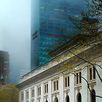 New York Public Library on a foggy day in spring, New York City.