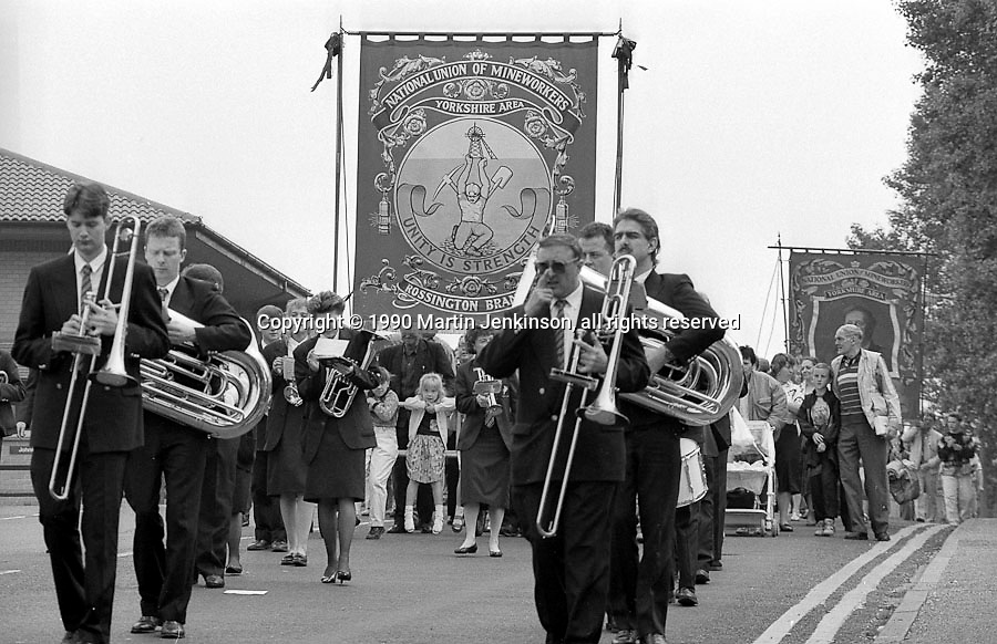 Rossington Branch banner. 1990 Yorkshire Miner's Gala. Rotherham.