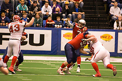 14 March 2009: Joe Nicklasch works to keep Leif Murphy from getting a hand on a ball passed by Mitch Tanney. The Sioux Falls Storm were hosted by the Bloomington Extreme in the US Cellular Coliseum in downtown Bloomington Illinois.