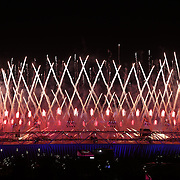 Fireworks over the Olympic Stadium during the Opening ceremony to the London 2012 Olympic games, London, UK. 27th July 2012. Photo Tim Clayton