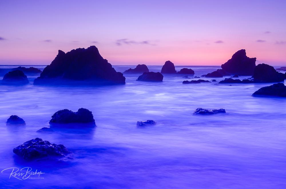 Sea stacks at dusk, El Matador State Beach, Malibu, California USA