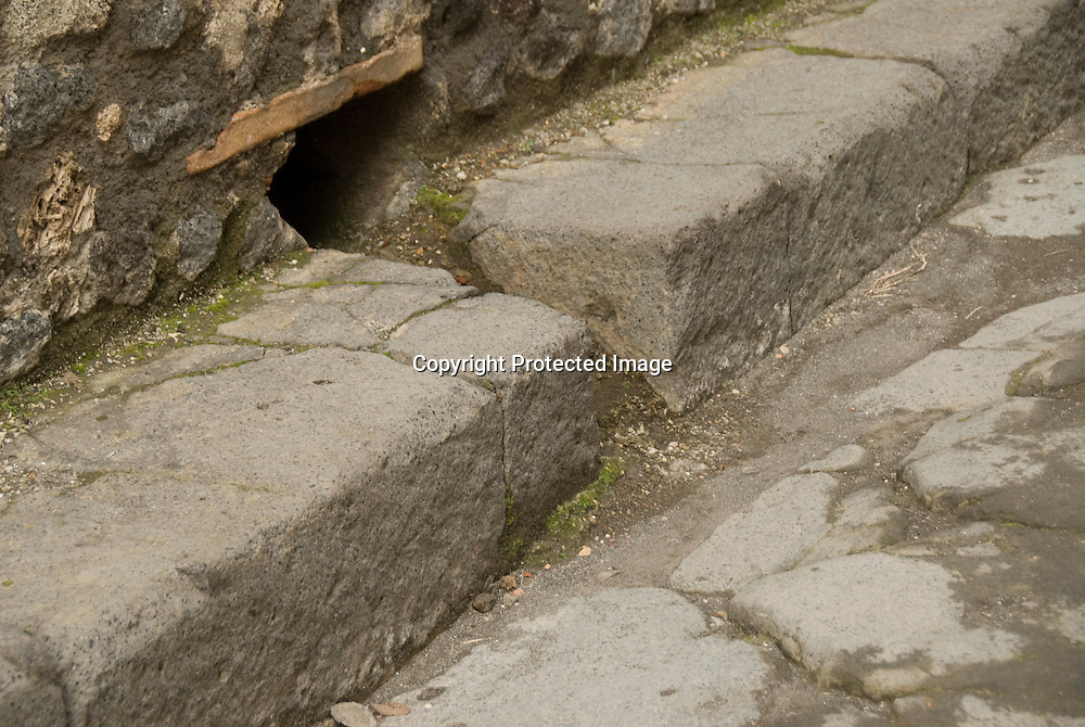 detail view of canalisation, Pompeji, Italy