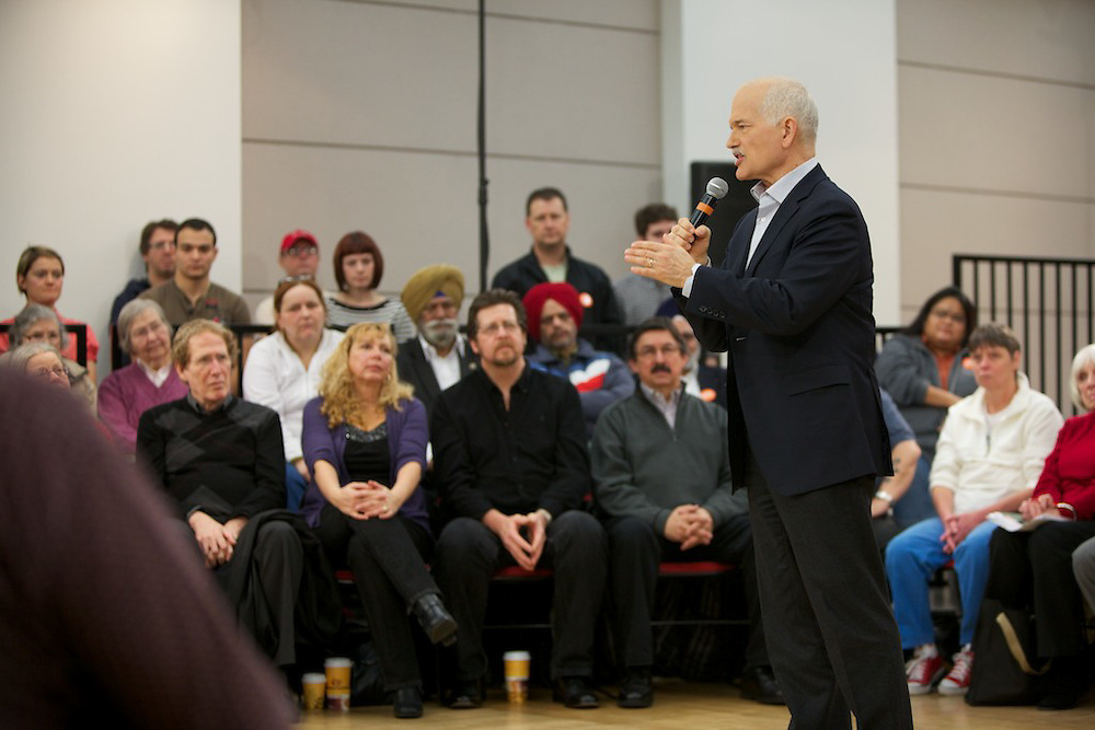 New Democrat Leader Jack Layton speaks at a special townhall at the Vancouver Public Library in Vancouver British-Columbia on January 22nd, 2011.