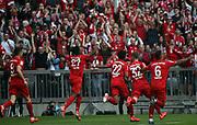 goal 2:1 by David ALABA (#27) and celebration with 22 Serge GNABRY, 32 Joshua Kimmich, 6 Thiago Alc&middot;ntara, Alcantara, 9 Robert Lewandowski,<br /> MUNICH, 18. MAY 2019,  Fc BAYERN vs Eintracht FRANKFURT, 5:1 - Bundesliga Football Match, <br /> FcBayern Muenchen vs Eintracht FRANKFURT Bundesliga match at Allianz Arena on 18.05.2019, DFL REGULATIONS PROHIBIT ANY USE OF PHOTOGRAPHS AS IMAGE SEQUENCES AND/OR QUASI-VIDEO - fee liable image, <br /> copyright &copy; ATP / Arthur THILL