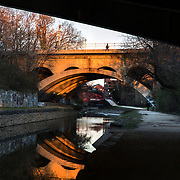 WASHINGTON, DC - MAR23: The towpath of the Chesapeake and Ohio (C&O) Canal in Georgetown, Washington, DC, March 23, 2017. There is no lighting along the towpath, and graffiti and debris line much of the canal. Developers are hoping to upgrade the the one mile stretch of the C&O Canal that runs through Georgetown to create a destination experience like the Highline in New York City. (Photo by Evelyn Hockstein/For The Washington Post)