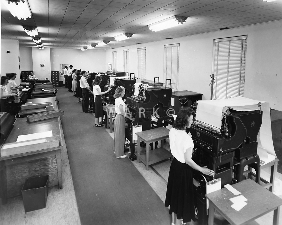 Women and men working in the tabulating department in Administrative Annex building.<br /> Date: 1953<br /> Stamped verso &quot;Credit Photo CF&amp;I Blast Pueblo, Colo.&quot;<br /> Numbered CFI_ADM_0032<br /> Prints Admin Pueblo Box 8