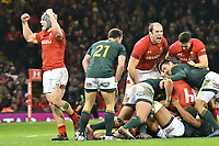 Rugby Union - 2018 Autumn Internationals (Under Armour Series) Wales vs. South Africa<br /> <br /> Jonathan Davies, of Wales & Alun Wyn Jones, of Wales celebrate as wales win at The Millennium Stadium.<br /> <br /> COLORSPORT/WINSTON BYNORTH
