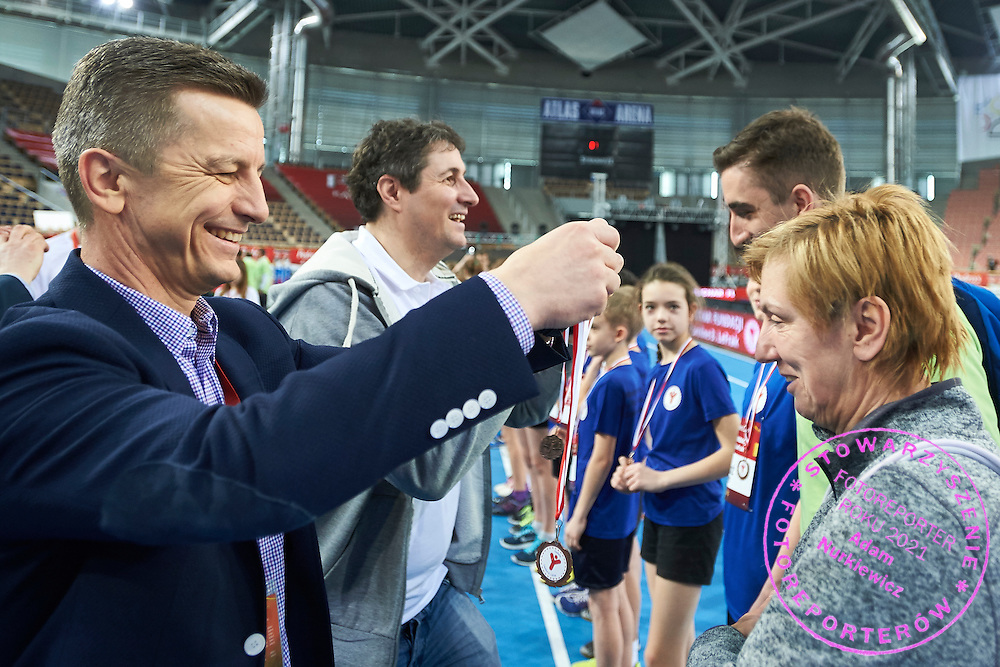 Krzysztof Klimczak President Board of Strauss Cafe Poland during Youth Pedro&rsquo;s Cup by Caroline B. LeFrak Foundation while athletics meeting Pedro's Cup at Atlas Arena in Lodz, Poland.<br /> <br /> Poland, Lodz, February 17, 2015<br /> <br /> Picture also available in RAW (NEF) or TIFF format on special request.<br /> <br /> For editorial use only. Any commercial or promotional use requires permission.<br /> <br /> Adam Nurkiewicz declares that he has no rights to the image of people at the photographs of his authorship.<br /> <br /> Mandatory credit:<br /> Photo by &copy; Adam Nurkiewicz / Mediasport