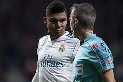 November 18, 2017 - Madrid, Madrid, Spain - Casemiro, Fernandez Borbalan during the match between Atletico de Madrid and Real Madrid, week 12 of La Liga at Wanda Metropolitano stadium, Madrid, SPAIN - 18th November of 2017. (Credit Image: © Jose Breton/NurPhoto via ZUMA Press)