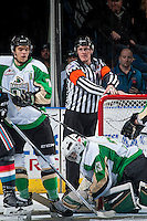 KELOWNA, CANADA - NOVEMBER 12: Referee Ward Pateman stands at the Prince Albert Raiders net at the Kelowna Rockets on November 12, 2016 at Prospera Place in Kelowna, British Columbia, Canada.  (Photo by Marissa Baecker/Shoot the Breeze)  *** Local Caption ***