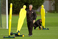 Photo: Daniel Hambury.<br />West Ham Utd Training. 03/11/2005.<br />Manager Alan Pardew moves dummy defenders into place prior to first team training.