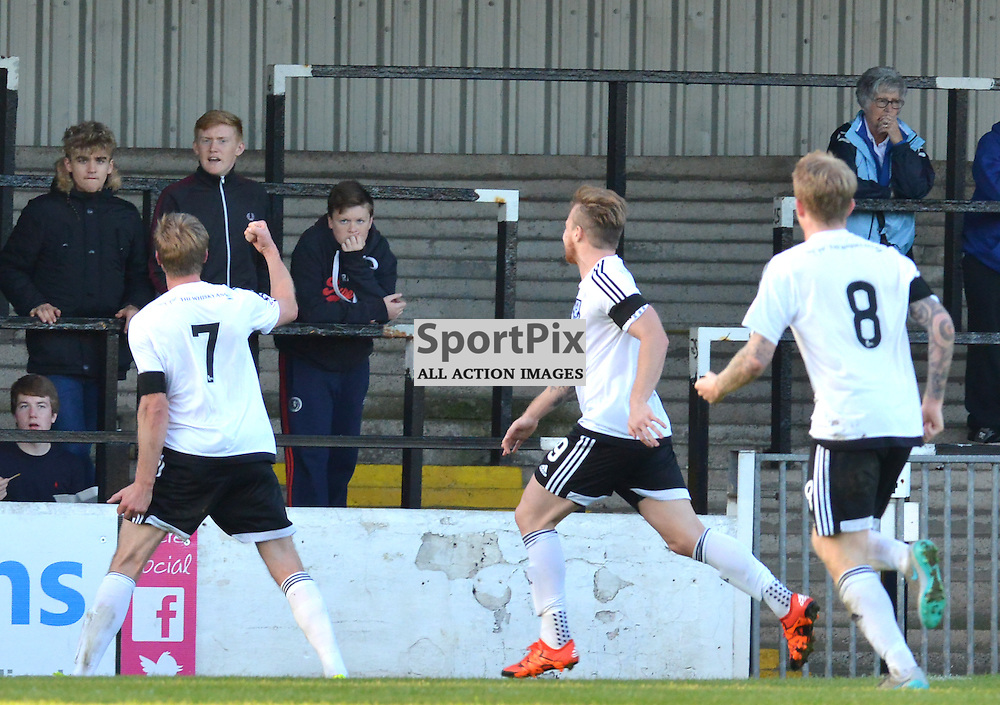 Ayr United's Jamie Adams tries to make friends with the Stranraer fans as he shows them his delight after putting his side 2-1 up at Somerset......(c) BILLY WHITE | SportPix.org.uk
