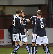 Dundee&rsquo;s Kane Hemmings is congratulated after scoring his side's second goal - Dundee v Dumbarton, William Hill Scottish Cup Fifth Round at Dens Park<br /> <br />  - &copy; David Young - www.davidyoungphoto.co.uk - email: davidyoungphoto@gmail.com