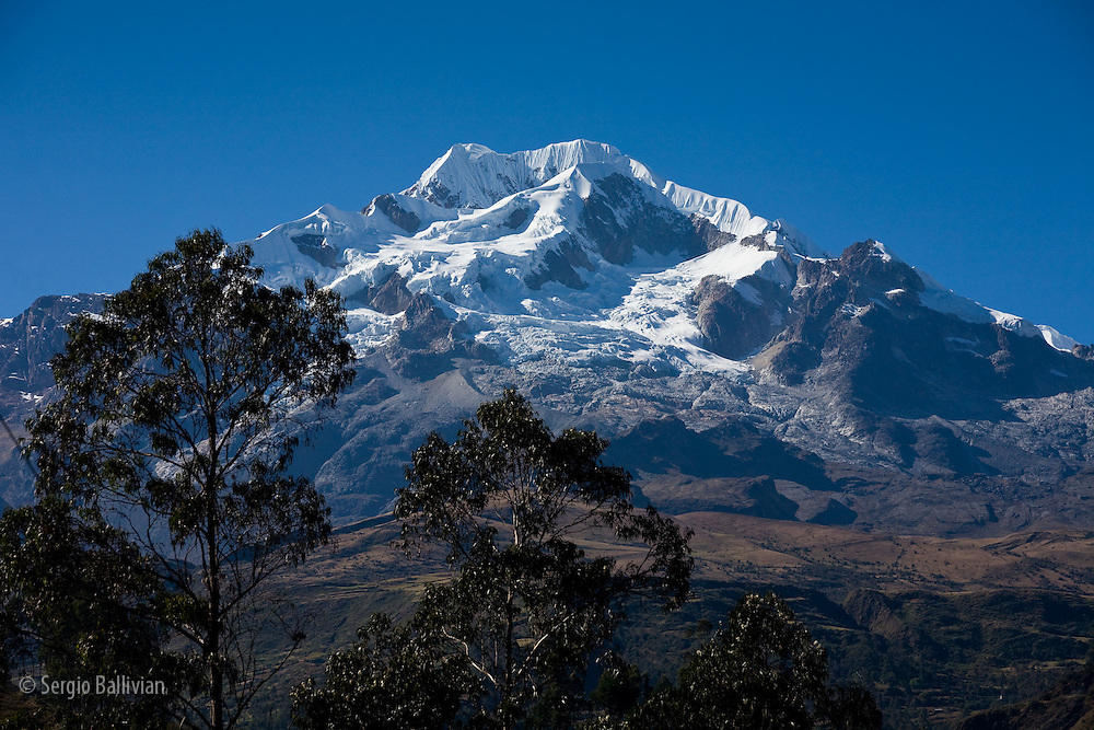 Mt. Illampu in the northern group of the Cordillera Real, Bolivia as seen during winter.