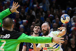 Kavticnik Vid and Gerard Vincent during 25th IHF men's world championship 2017 match between France and Slovenia at Accord hotel Arena on january 24 2017 in Paris. France. PHOTO: CHRISTOPHE SAIDI / SIPA / Sportida