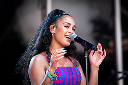 Jorja Smith performs live on the West Holts Stage on day 3 of Glastonbury 2019, Worthy Farm, Pilton, Somerset. Picture date: Friday 28th June 2019.  Photo credit should read:  David Jensen/EmpicsEntertainment