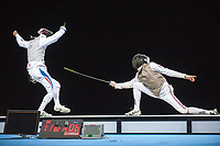 Macel MARCILLOUX (FRA) [left] v James DAVIS (GBR) [right] during the men's foil competition at the London Prepares Olympic Test Event, ExCel Centre,  London, England November 27, 2011.