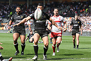 Hull FC second row forward Mark Minichiello (12) lets the ball run dead during the Betfred Super League match between Hull FC and Hull Kingston Rovers at Kingston Communications Stadium, Hull, United Kingdom on 19 April 2019.