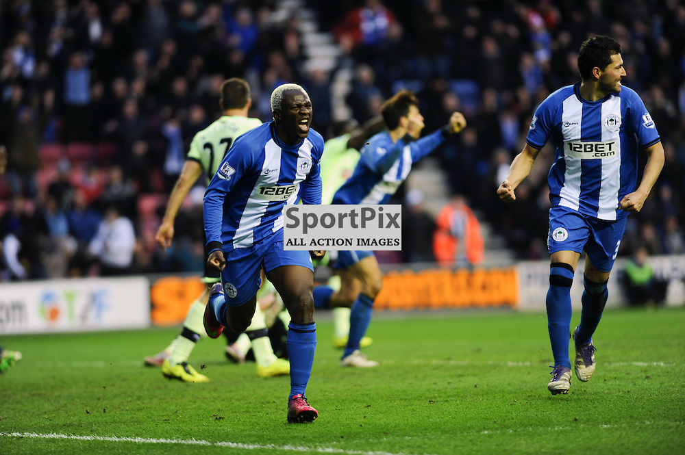 Arouna Kone celebrates his winning goal for Wigan-(c) DENIS OATES | StockPix.eu