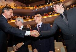 Borut Pahor and Edi Kolar at Slovenian Sports personality of the year 2013 annual awards presented on the base of Slovenian sports reporters, on December 19, 2013 in Cankarjev dom, Ljubljana, Slovenia.  Photo by Vid Ponikvar / Sportida