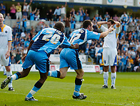 Photo: Leigh Quinnell.<br /> Wycombe Wanderers v Shrewsbury. Coca Cola League 2. 22/09/2007. Wycombes Scott McGleish rushes to celebrate his goal.