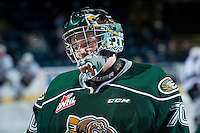 KELOWNA, CANADA - DECEMBER 30: Carter Hart #70 of Everett Silvertips stands on the ice against the Kelowna Rockets on December 30, 2015 at Prospera Place in Kelowna, British Columbia, Canada.  (Photo by Marissa Baecker/Shoot the Breeze)  *** Local Caption *** Carter Hart;