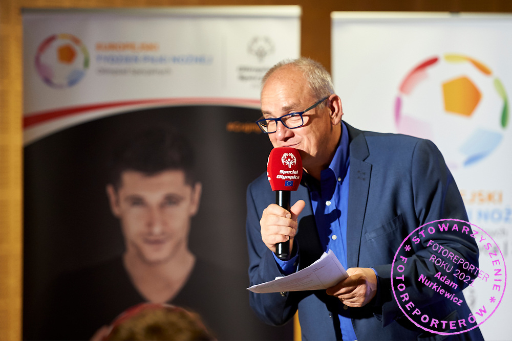 Warsaw, Poland - 2017 May 18: Journalist Michal Olszanski speaks during press conference while the annual Special Olympics European Football Week at Legia Warsaw on May 18, 2017 in Warsaw, Poland.<br /> <br /> Adam Nurkiewicz declares that he has no rights to the image of people at the photographs of his authorship.<br /> <br /> Picture also available in RAW (NEF) or TIFF format on special request.<br /> <br /> Any editorial, commercial or promotional use requires written permission from the author of image.<br /> <br /> Image can be used in the press when the method of use and the signature does not hurt people on the picture.<br /> <br /> Mandatory credit:<br /> Photo by &copy; Adam Nurkiewicz / Mediasport