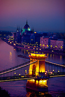 Chain Bridge across the Danube River (Parliament behind), Budapest, Hungary