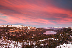 """Donner Lake Sunset 46"" - Winter photograph of Donner lake in Truckee, California shot at sunset."