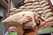 09 JULY 2011 - BANGKOK, THAILAND: Laborers unload a truck full of peanuts in burlap bags in the Chinatown section of Bangkok, Thailand. Chinatown is the entrepreneurial hub of Bangkok, with thousands of family owned businesses selling wholesale merchandise in everything from food like rice, peanuts and meats, to dry goods like toys and shoes.  PHOTO BY JACK KURTZ