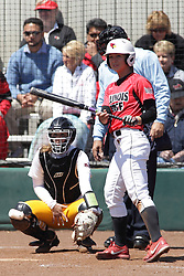 26 April 2015:   Batting for the Redbirds is Regan Romshek (catching for the Ramblers is Annie Korth, home plate umpire is Steve McCrillis) during an NCAA Missouri Valley Conference (MVC) Championship series women's softball game between the Loyola Ramblers and the Illinois State Redbirds on Marian Kneer Field in Normal IL