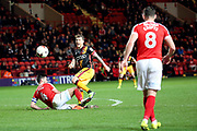 Charlton Athletic midfielder Johnnie Jackson (4) tackling Bradford City striker Billy Clarke (10) during the EFL Sky Bet League 1 match between Charlton Athletic and Bradford City at The Valley, London, England on 14 March 2017. Photo by Matthew Redman.