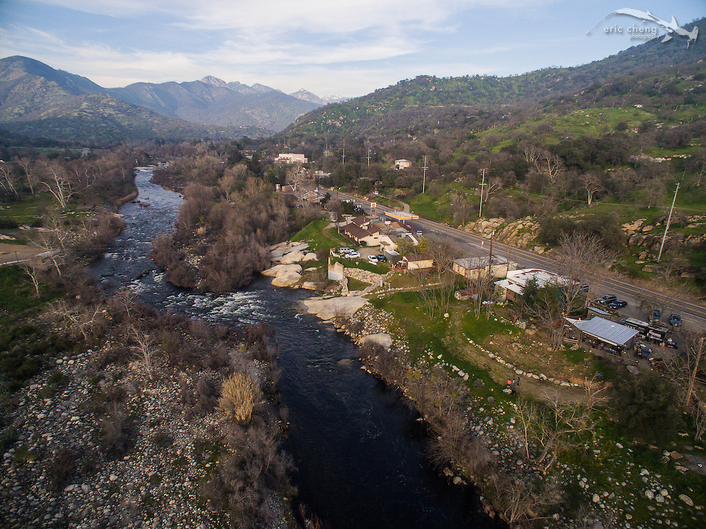 Aerial view of El Buckaroo restaurant in Three Rivers, California, just outside of Sequoia National Park.