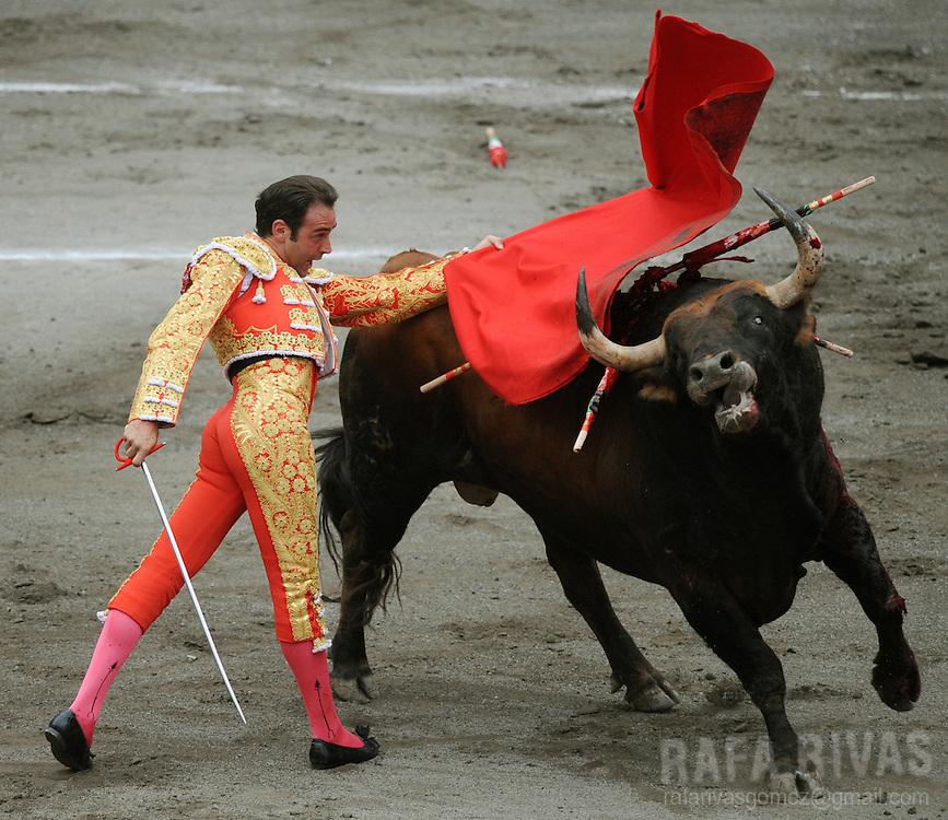 Spanish matador Enrique Ponce gives a muleta pass to his first El Ventorrillo fighting bull, during a corrida at the Vista Alegre bullring in Bilbao, northern Spain, on August 19, 2009. PHOTO/Rafa Rivas