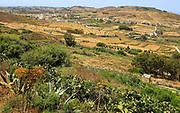 Rural landscape view from Zebbug of Ghasri village and valley, Gozo, Malta