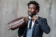 Wilfried Bony of Swansea City arrives at the stadium, before the Premier League match between Swansea City and Watford at the Liberty Stadium, Swansea, Wales on 23 September 2017. Photo by Andrew Lewis.