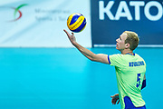 Katowice, Poland - 2017 September 03: Athlete Yaroslav Kovalenko from SO Russia serves the ball while final match between SO Russia and SO Finland during European Unified Volleyball Tournament 2017 at Spodek Hall on September 03, 2017 in Katowice, Poland.<br /> <br /> Adam Nurkiewicz declares that he has no rights to the image of people at the photographs of his authorship.<br /> <br /> Picture also available in RAW (NEF) or TIFF format on special request.<br /> <br /> Any editorial, commercial or promotional use requires written permission from the author of image.<br /> <br /> Image can be used in the press when the method of use and the signature does not hurt people on the picture.<br /> <br /> Mandatory credit:<br /> Photo by &copy; Adam Nurkiewicz / Mediasport