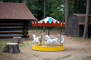 A Merry-Go-Round seems out of place at Pioneer Park in Rhinelander, Wisconsin.