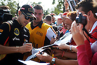 Pastor Maldonado (VEN) Lotus F1 Team signs autographs for the fans.<br /> Italian Grand Prix, Sunday 7th September 2014. Monza Italy.