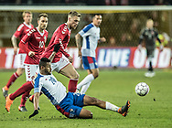 FOOTBALL: Aníbal Godoy (Panama) and Nicolai Jørgensen (Denmark) during the friendly match between Denmark and Panama at Brøndby Stadium on March 22, 2018 in Brøndby, Copenhagen, Denmark. Photo by: Claus Birch / ClausBirch.dk.