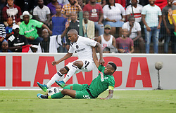 15042018 (Durban) M Gumede of Amazulu tackle for a ball with T Lorch of Orlando Pirates, when Pirates came from behind to grab a 2-1 win over AmaZulu to keep their title hopes alive in the Absa Premiership at King Zwelithini Stadium yesterday in Durban<br /> Picture: Motshwari Mofokeng/ANA
